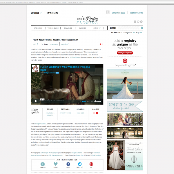Featured on Style Me Pretty!!! Parool and Karl's Fusion Wedding at Villa Woodbine