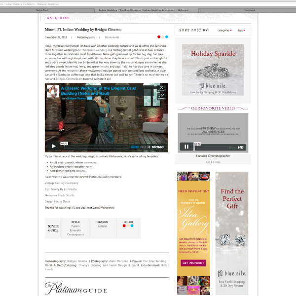 We're Featured!!! Thrilled to see our couple {Neha and Raul} featured on Maharani Weddings